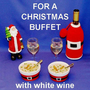 Crab Lovers' Creamy Bisque in tasting ramekins, with white wine and Santa Christmas