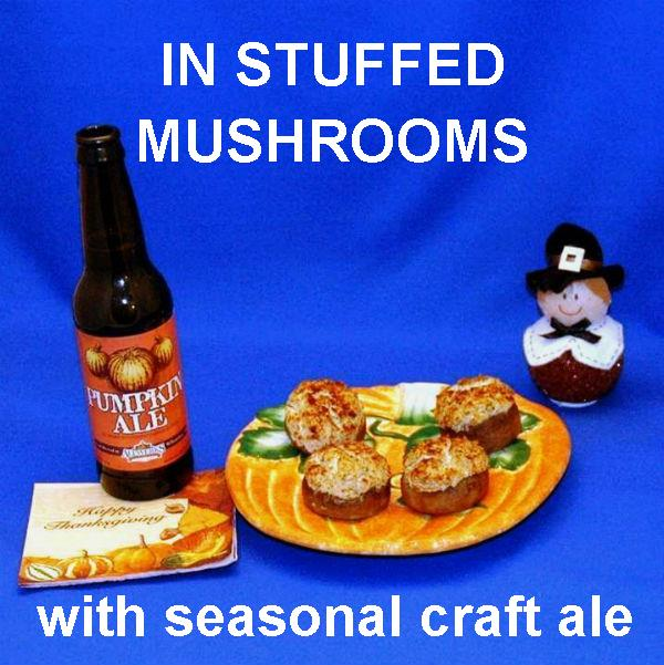 Baked crab cake dip stuffed mushrooms and seasonal ale Thanksgiving appetizer