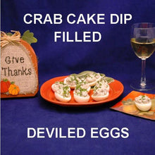 Load image into Gallery viewer, Crab cake dip stuffed deviled eggs and white wine Thanksgiving appetizer