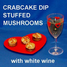Load image into Gallery viewer, Crab Cake Dip stuffed baked mushrooms, served with white wine Valentine's