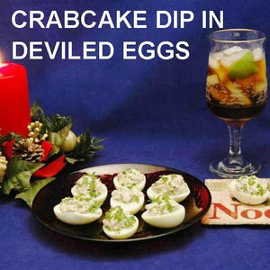 Crabcake Dip Filled Deviled Eggs with rum & Coke cocktail Christmas
