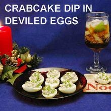 Load image into Gallery viewer, Crabcake Dip Filled Deviled Eggs with rum & Coke cocktail Christmas