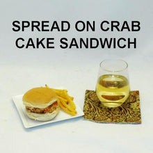 Load image into Gallery viewer, Chipotle Ranch spread on Crab Cake Slider with white wine