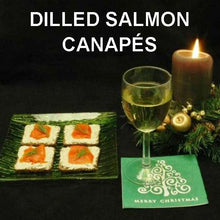 Load image into Gallery viewer, Cocktail Rye with Dill Dip topped with Lox  and served with white wine Christmas