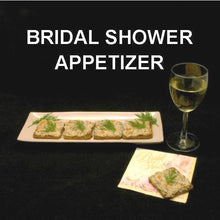 Load image into Gallery viewer, Bridal Shower appetizer, Dilled Smoked Salmon Spread on cocktail rye served with white wine