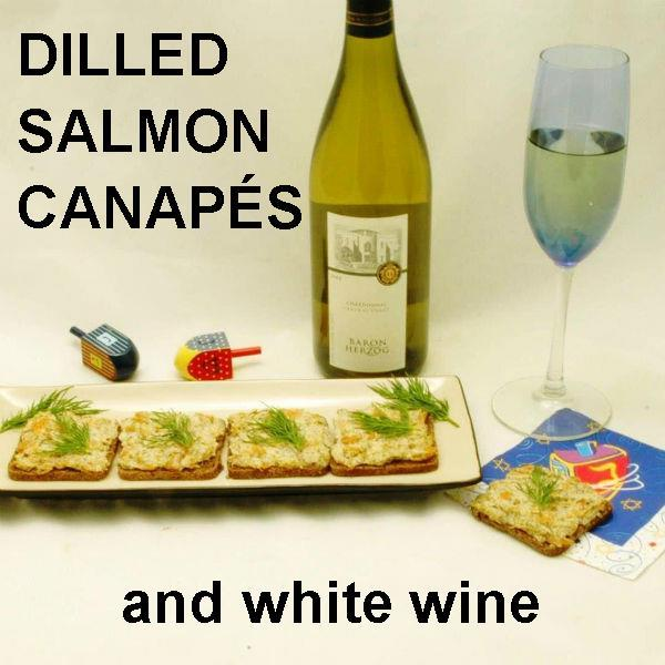 Dill Salmon Canapès with white wine Hanukkah