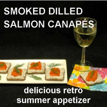 Load image into Gallery viewer, Cocktail Rye with Dill Dip topped with Lox and served with white wine  Summer