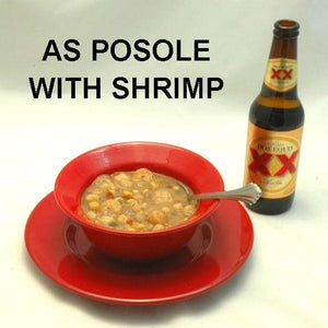 El Paso Shrimp Posole served with Mexican beer
