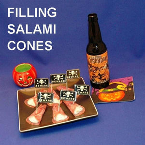 Garlic Blue Cheese Dip in Salami Cones, served with ale Hallow