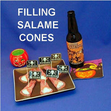 Load image into Gallery viewer, Garlic Blue Cheese Dip in Salami Cones, served with pumpkin ale Hallow