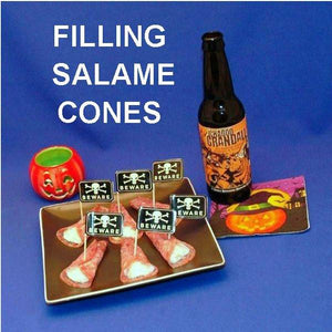 Garlic Blue Cheese Dip in Salami Cones, served with pumpkin ale Hallow