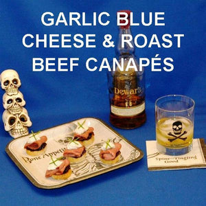 Roast Beef and Garlic Blue Cheese Canapés with good scotch Hallowl