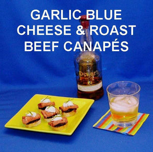 Roast Beef and Garlic Blue Cheese Canapés served with good scotch