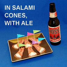 Load image into Gallery viewer, Garlic Blue Cheese Dip in Salami Cones, served with craft ale