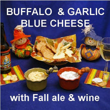Load image into Gallery viewer, Garlic Blue Cheese Dip with white wine and Buffalo Garlic Blue Cheese Dip with fall ale