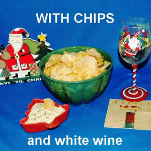 Ginger Sesame Chip Dip served with white wine Christmas