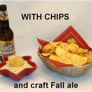 Ginger Sesame Dip served with chips and fall ale