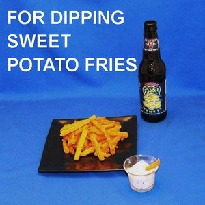 Sweet Potato Fries with Ginger Sesame Dip and craft ale
