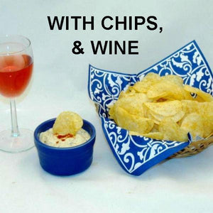 Ginger Sesame Chip Dip served with  wine