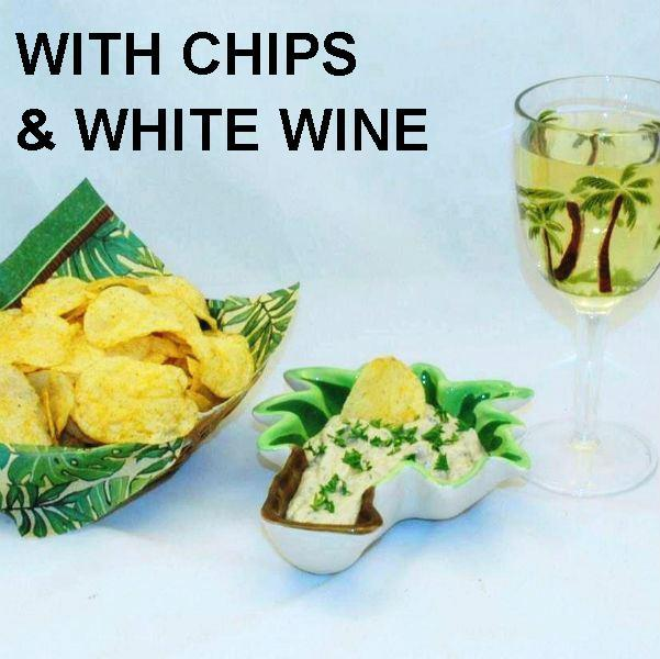 Ginger Sesame Chip Dip served with chips and white wine Summer