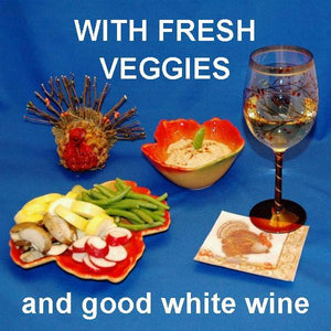 Ginger Sesame Dip with fresh veggie dipers and white wine Thanksgiving appetizer