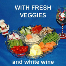 Load image into Gallery viewer, Ginger Sesame Dip with fresh sugar snap peas, mushrooms, green beans, carrots, yellow squash and more Christmas