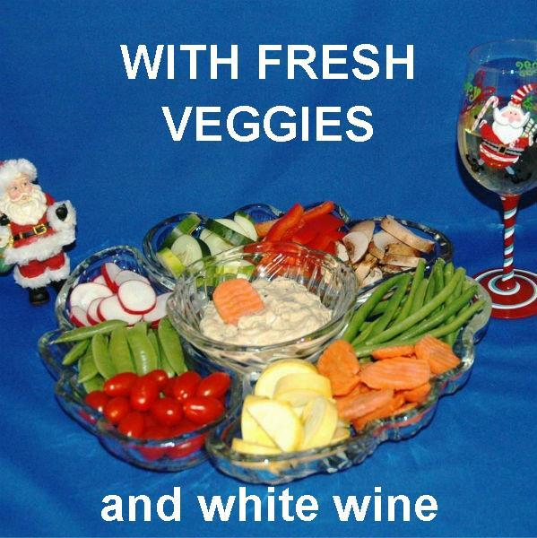 Ginger Sesame Dip with fresh sugar snap peas, mushrooms, green beans, carrots, yellow squash and more Christmas