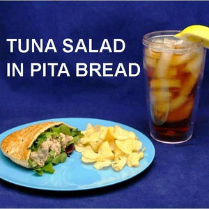 Ginger Sesame Tuna Salad in Pita roll with chips and iced tea