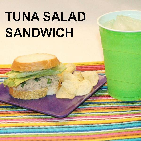 Tuna Salad Sandwich with Ginger Sesame Dressing on French bread with chips and soft drink