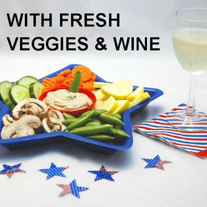 Ginger Sesame Dip with green beans, yellow squash, carrots, cucumbers and mushrooms, served with white wine July 4th