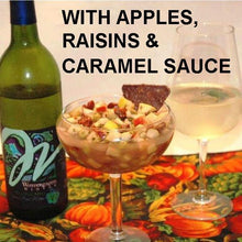 Load image into Gallery viewer, Caramel Apple Habanero Salsa with blue corn tortilla chips and apple wine Fall