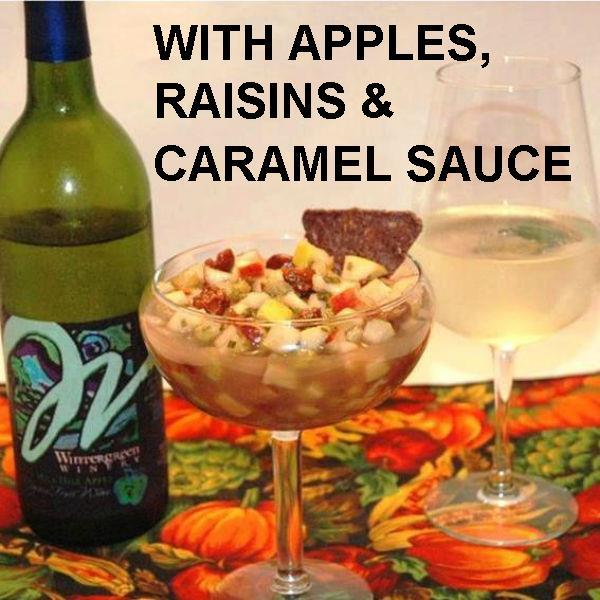 Caramel Apple Habanero Salsa with blue corn tortilla chips and apple wine Fall