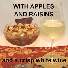 Load image into Gallery viewer, Caramel Apple Habanero Salsa with tortilla chips, served with semi-dry white wine Winter