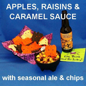 Caramel Apple Habanero Salsa with blue corn tortilla chips and pumpkin ale Halloween
