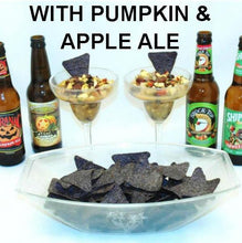 Caramel Apple Habanero Salsa made two ways, with apple ale and pumpkin ale, served with blue corn tortilla chips