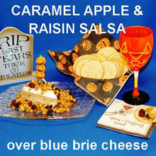 Load image into Gallery viewer, Caramel Apple Habanero Salsa over blue brie cheese, with crackes and pumpkin ale Hallow