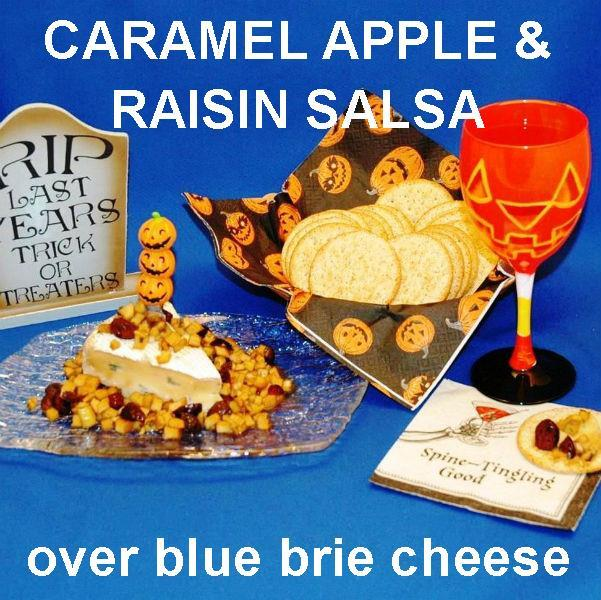 Caramel Apple Habanero Salsa over Blue Brie Cheese with wine Halloween