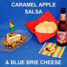 Caramel Apple Habanero Salsa over Blue Brie Cheese with IPA ale