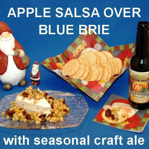 Caramel Apple Habanero Salsa over Blue Brie Cheese with pumpkin porter Christmas