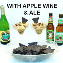 Caramel Apple Habanero Salsa made two ways, with apple wine and apple ale, served with blue corn tortilla chips