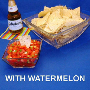 Habanero Watermelon Salsa with tortilla chips and Mexican beer