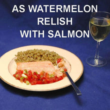 Load image into Gallery viewer, Baked Salmon with Habanero Watermelon Salsa Relish and white wine