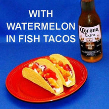 Load image into Gallery viewer, Fish tacos with Habanero Watermelon Salsa and Mexican beer