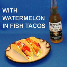 Fish tacos with Habanero Watermelon Salsa and Mexican beer