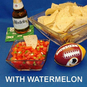 Habanero Watermelon Salsa with tortilla chips and Mexican beer Football