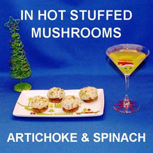 Load image into Gallery viewer, Baked Artichoke Spinach Dip stuffed mushrooms, served with a Lemon Drop martini Christmas