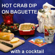 Load image into Gallery viewer, Hot Crab Cake Dip on baguette slices and bourbon cocktail Christmas