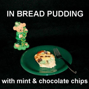 Irish Cream Bread Pudding with mint and chocolate chips, original St. Pat's dessert StP
