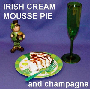 Irish Cream Mousse Pie, served with champagne for St. Paddy's party dessert