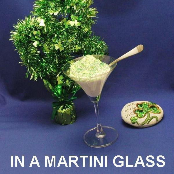 St. Patrick's Day party dessert, Irish Cream Mousse in martini glass with green sugar, served in a martini glass StP